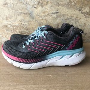 Hoka One One Pink & Blue Clifton 4 Running Shoes